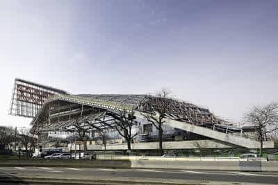La Philharmonie de Paris en travaux, vue du boulevard Sérurier